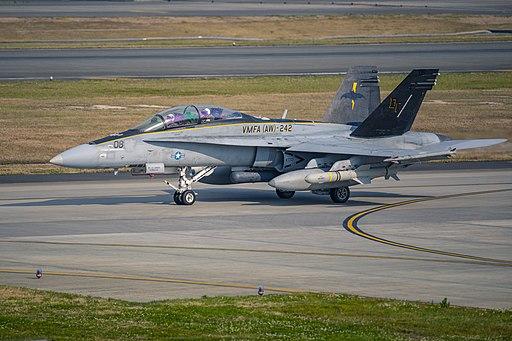 McDonnell Douglas FA-18D Hornet of VMFA(AW)-242 at Marine Corps Air Station Iwakuni, Japan, 28 April 2020 (200428-M-LP762-1107)