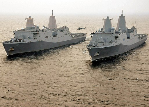 US Navy 110609-N-VL218-336 The amphibious transport dock ships USS San Antonio (LPD 17) and USS New York (LPD 21) are underway together in the Atla