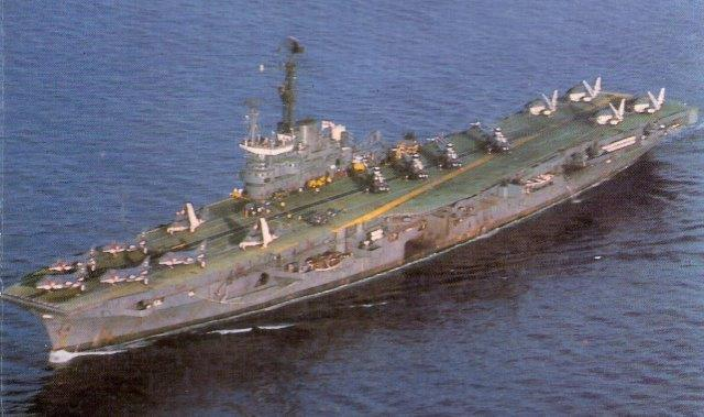 INS_Vikrant_circa_1984_carrying_a_unique_complement_of_Sea_Harriers,_Sea_Hawks,_Allouette_&_Sea_King_helicopters_and_Alize_ASW